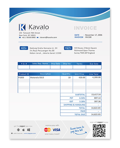 Sample invoice with Zapper QR Code